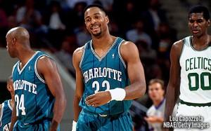 "50^ Alonzo (Harding) Mourning (jr.) ""Zo""-N°33, C, 08/02/1970, Cheseapeake (Virginia), 208 cm, 118 kg, 1992-95, scelto dagli Charlotte Hornets nel Draft NBA 1992, squadra successiva: Miami Heat, G. 215, Pt. 4569. http://youtu.be/Bpl0hU7Zfrs"