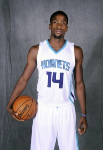 Sep 29, 2014; Charlotte, NC, USA; Charlotte Hornets forward Michael Kidd-Gilchrist (14) during Media Day at Time Warner Cable Arena. Mandatory Credit: Sam Sharpe-USA TODAY Sports