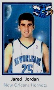 Jared Jordan-N°25, PG, 14/10/1984 Hartford (Connecticut), 188 cm, 85 kg, con gli Hornets: dal 27/09/2008 al 22/10/2008. Firma un contratto non garantito, di quelli dei training camp. Scende due volte sul parquet con gli Hornets in prestagione e colleziona 3 punti e tre assist di media. Gli Hornets però il 22 ottobre ecidono di tagliarlo dal roster. Nonostante i Clippers l'avessero scelto alla posizione numero 45 del Draft 2007, al momento non è mai sceso in campo con nessuna franchigia NBA in stagione regolare o playoffs. Una prestagione precedente all'esperienza in Louisaina e qualche salto alle Summer League. Attualmente (2016) gioca in Germania nei Tigers Tübingen.