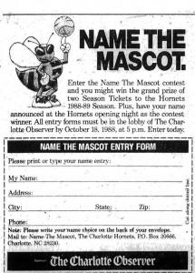 La cartolina sullo Charlotte Observer con la quale i fan degli Hornets avrebbero potuto dare un nome alla mascotte.