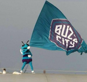 "Hugo sul tetto con la bandiera ""Buzz City""."