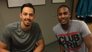 Jason Washburn (a sinistra) e Sam Thompson (a destra). Foto del sito ufficiale degli Charlotte Hornets.