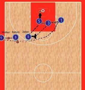 Il gioco che ha mandato in lunetta Zeller per i due liberi del 96-94. Su Zeller alla fine è arrivato il contatto di Gasol.