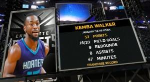Kemba Walker a Charlotte contro i Jazz.