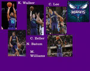 Il quintetto degli Hornets. Batum alle prese con la caviglia, potrebbe essere sostituito da Lin spostando C. Lee in SF stanotte se Clifford vorrà parificarsi al quintetto medio/basso degli Heat o magari da Kaminsky spostando M. Williams in PF.