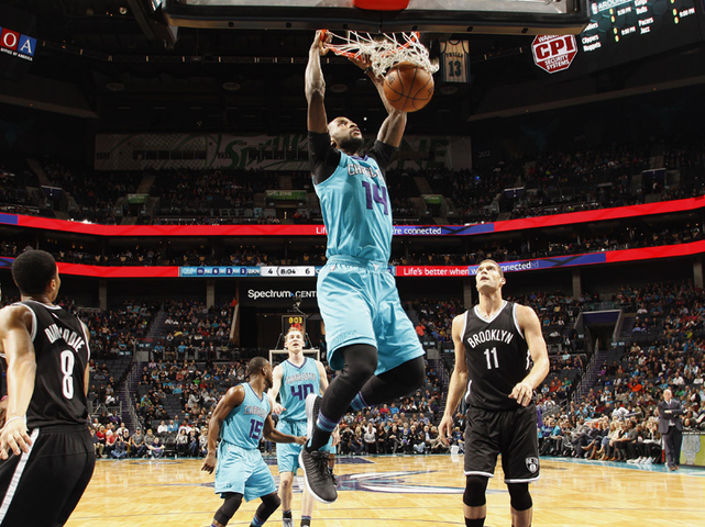 Michael Kidd-Gilchrist dunks against the Brooklyn Nets. 2017 NBAE (Photo by  Kent Smith NBAE via Getty Images) 9581c923b8b2